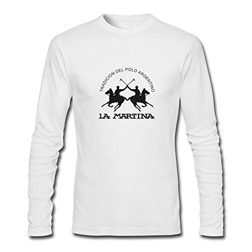 La Martina 2016per Uomo Stampato Manica Lunga Tops T-shirts White Large