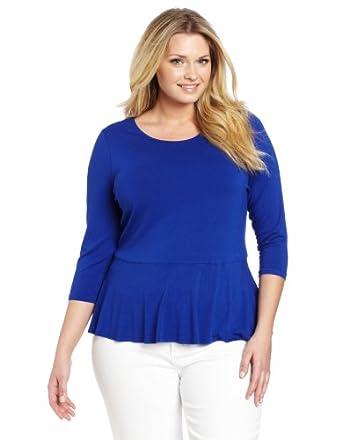 Vince Camuto Women's Plus-Size 3/4 Sleeve Peplum Top, Cobalt, 1X at