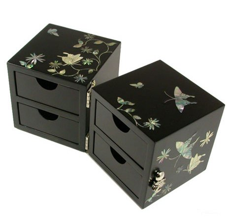 Handmade wooden mother of pearl jewellery box with drawers, lacquer jewelry case, black butterfly DF