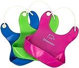 Pack de 3 Babero Impermeable de Silicona con Bolsillo Redondo WEINAS® Unisex Babero Flexible y Ajustable para Comer y Alimentación de Bebé/Niños 3 colores( Azul Verde Rosa)