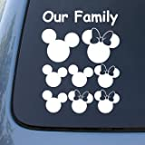 MICKEY EARS FAMILY - Vinyl Car Decal Sticker #A1539 | Vinyl Color: White