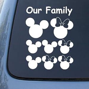 MICKEY EARS FAMILY - Vinyl Car Decal Sticker #A1539 | Vinyl Color: White