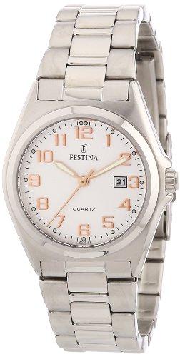 Festina F16375/7 - Reloj analógico de cuarzo para mujer con correa de acero inoxidable, color plateado