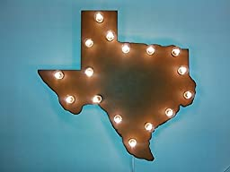 Texas lighted sign vintage inspired rusty rustic rusted Texas Marquee