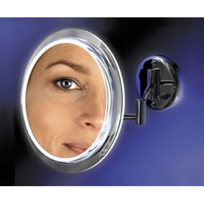 Wall Mount Mirror With Surround Light In Chrome Magnification: 5X, Cordless: No