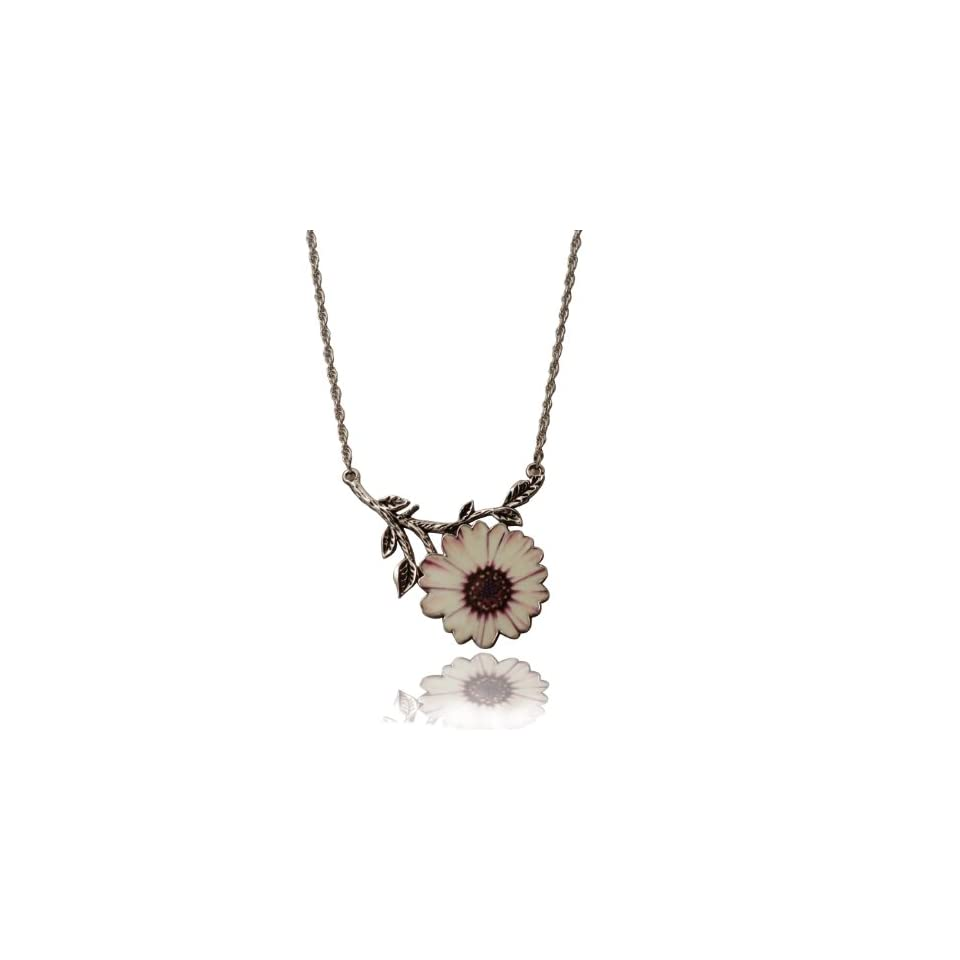 Comin Up Daisies Pink & White Daisy Pendant Necklace on Beautiful Twisted Link 32 Chain