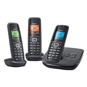 Gigaset Siemens A510A Trio Téléphone sans fil DECT avec répondeur intégré 2 combinés supplémentaires Noir