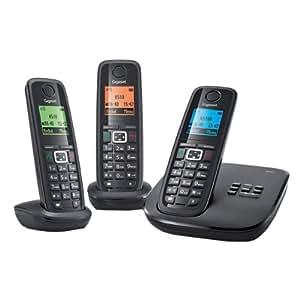 Gigaset Siemens A510A Trio Téléphone sans fil DECT/GAP répondeur  3 combinés Noir