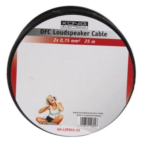 Konig KN-LSP02R-25 25m On Reel OFC Cable for Loudspeaker - Transparent