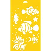 30cm x 17.5cm Reusable Flexible Plastic Stencil for Cake Design Decorating Wall Home Furniture Fabric Canvas Decorations Airbrush Drawing Drafting Template - Fish Sea Ocean Animals