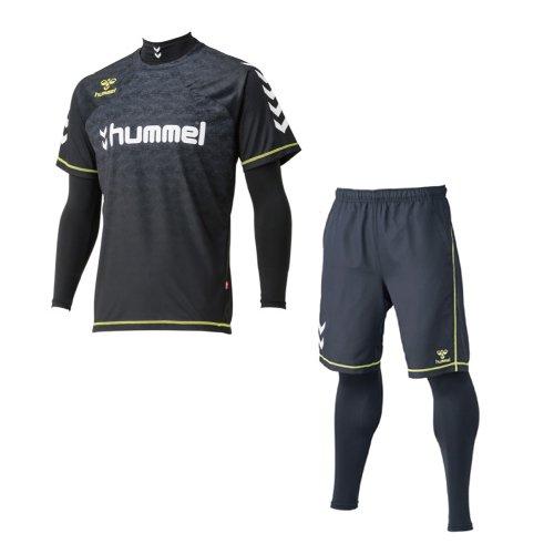 hummel(ヒュンメル) 上下セット 4点セット プラシャツ プラパンツ インナーセット メンズ Mサイズ ブラック-ブラック hap7092-hap2042-M-90-90