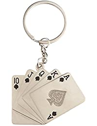 Imported Creative Silver Metal Key Chain Ring Gift Poker Keyfob