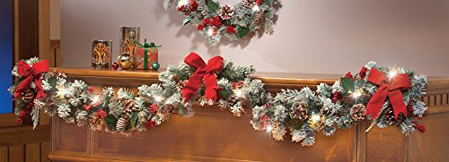 "72"" Garland Led Lighted Frosted Snow Tip Red Bow Berries Pinecones Winter Christmas Holiday Decor"