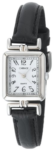 Carriage by Timex Women's C2A901 Silver Tone Rectangular Case White Dial Black Leather Strap Watch