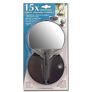15x lighted adjustable travel compact mirror. Black Bedroom Furniture Sets. Home Design Ideas