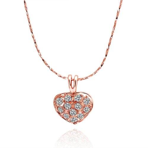 Virgin Shine Fashion Color Heart Shape Necklace With Embeded Rhinestone