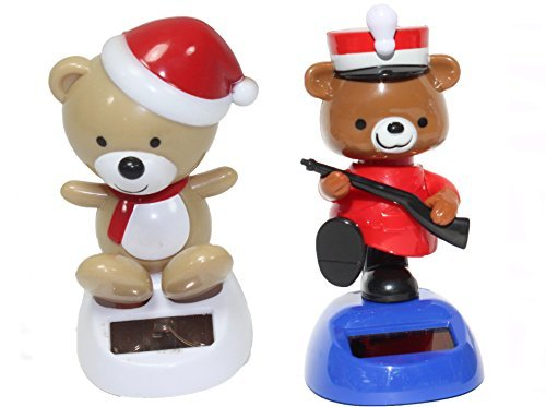 A Teddy in red hat plus a British policeman cop teddy bear Christmas Solar Toy - 1