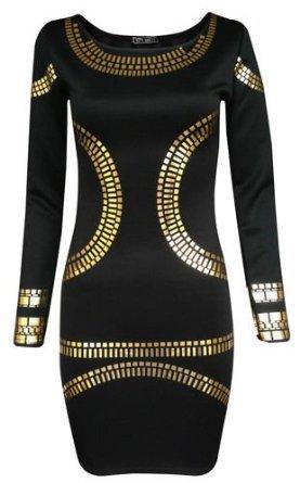 Teenloveme - Vestito da donna Kim Kardashian, stampa oro, corto, per feste (XL, Nero)