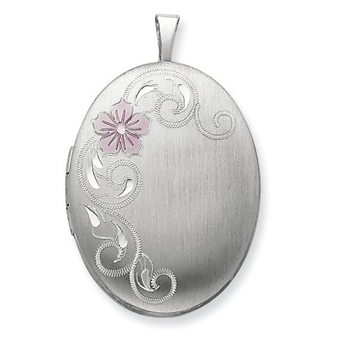 Sterling Silver 20mm Enameled Flower and Scroll Oval Locket