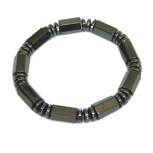 Men's Magnetic Hematite Bracelet with Black Hexagon Beads  8.5