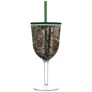 Real Tree Camouflage Camo 13 oz Insulated Wine Glass Slant Lid Straw