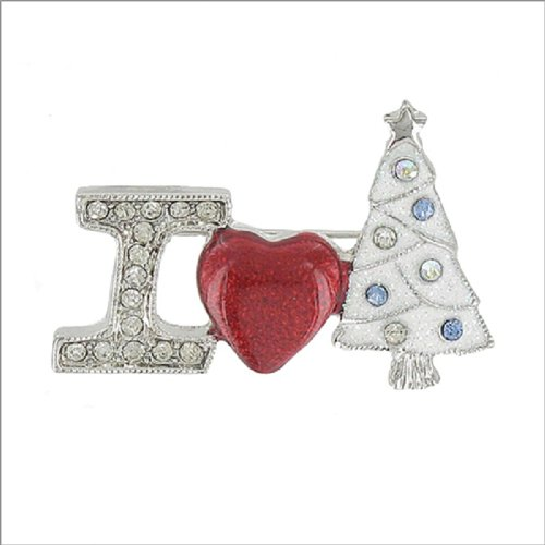 I Love Christmas with Stone Design Pin #041890