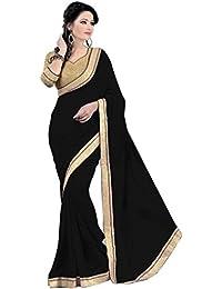 Krishna Emporia Georgette Saree (Plain Saree 11_Black)