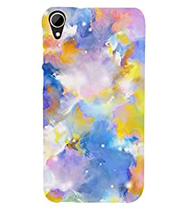 MODERN ART BLUE AND YELLOW PATTERN 3D Hard Polycarbonate Designer Back Case Cover for HTC Desire 828 :: HTC Desire 828Q :: HTC Desire 828S :: HTC Desire 828G+ :: HTC Desire 828 G Plus :: HTC Desire 828 Dual Sim
