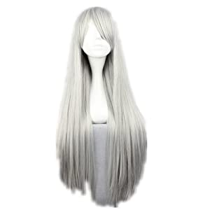 COSPLAZA Cosplay Costume Wigs 80cm Long Straight Superbia¡¤ Squalo Hitman Reborn Sephiroth Final Fantasy Mixed silver white Anime Hair