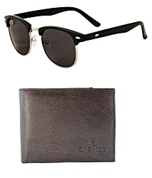 Aventus Combo of Black Clubmasters & Brown Wallet
