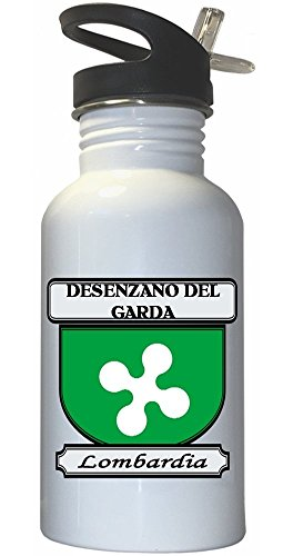 Desenzano del Garda, Lombardia (Lombardy) City White Stainless Steel Water Bottle Straw Top