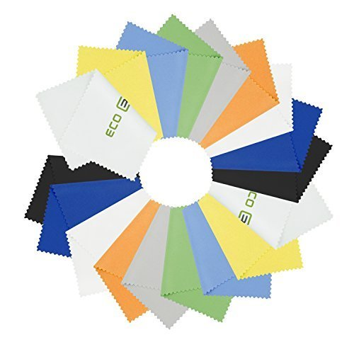 18 Microfiber Cleaning Cloths – For Cell Phones, Laptops, Tablets, Glasses, Spectacles, Silverware, and Delicate Surfaces
