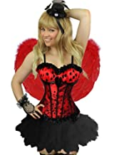 Yummy Bee Burlesque Corset & Tutu Frilly Skirt Costume Ladies Deluxe Fancy Dress Plus Size 6-24 Lace (Women: 10-12, Red Polka + Tutu)