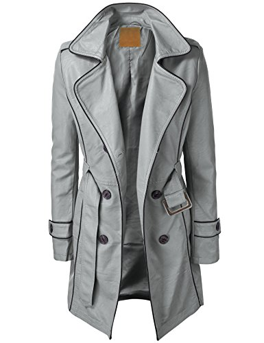 LL Womens Jet Setter Faux Leather Trench Coat L GRAY