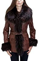 United Face Women's Belted Raccoon Fur Leather Coat