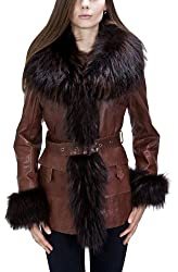 United Face Womens Belted Raccoon Fur Leather Coat