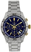 Seiko Chronograph Blue Dial Stainless Steel Mens Watch SSB055