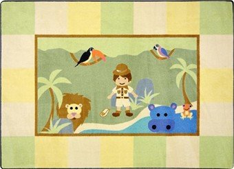 "Joy Carpets Kid Essentials Active Play & Juvenile Lil' Explorer Rug, Multicolored, 3'10"" x 5'4"""