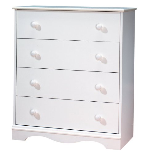 South Shore Furniture, 4 Drawer Chest, Pure White front-818683