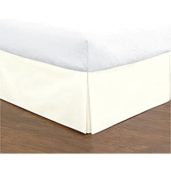Bed Skirt Long Staple Fiber - Durable, Comfortable & Abrasion Resistant, Quadruple Pleated, 100% Finest Quality by Lux Decor Collection (Queen ,Vanilla)