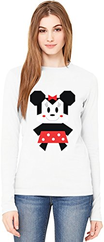 Origami Minnie Mouse T-Shirt da Donna a Maniche Lunghe Long-Sleeve T-shirt For Women| 100% Premium Cotton Ultimate Comfort Small