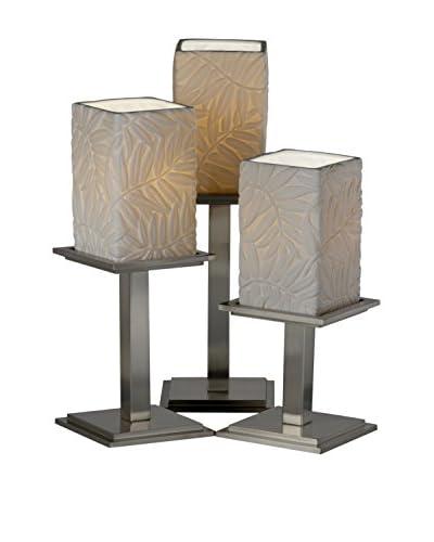 Justice Design Group Limoges 3-Light Montana Leaf Table Lamp, Brushed Nickel