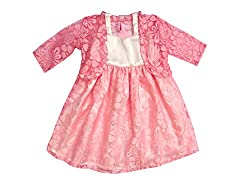 Campana Pink And White Party Dress With Shrug For Girls