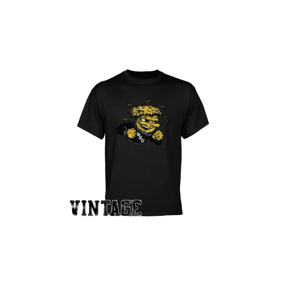 7f4902734ed6 Wichita State Shockers Black Distressed Logo T shirt on PopScreen