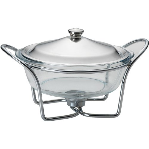 Towle Living 5112479 Modernist Chrome-Plated 2-Quart Round Warmer with Glass Lid