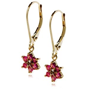 Click to buy 18k Yellow Gold Plated Sterling Silver Ruby Flower Dangle Earrings from Amazon!
