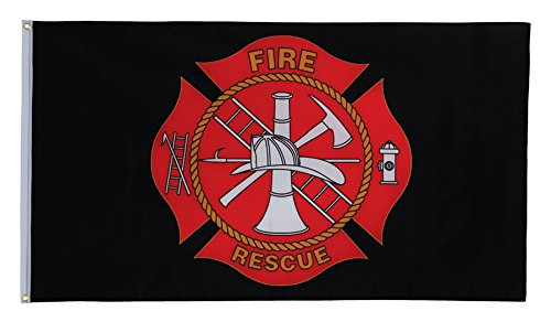 In the Breeze Fire Rescue Grommet Flag, 3 by 5-Feet