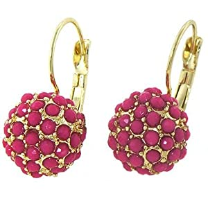 Heirloom Finds Eye-Catching Gold and Hot Pink Stone Pave Half Ball Drop Earrings by Heirloom Finds
