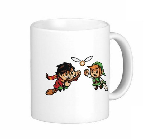 Pair Of 15 Ounce Harry Potter And Link Coffee Mugs - Dishwasher And Microwave Safe - Zelda Navi Quidditch Snitch