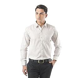 ZIDO Beige Blended Men's Striped Shirts PCFLX1293_Beige_50